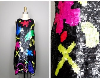 Abstract Splash Sequined Dress // Plus Size Colorful Party Dress // Fully Embellished Trophy Dress XL