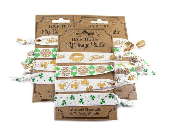 St. Patrick's Day Hair Ties Set - Clover Hair Tie Gift Set - Gold Foil Hair Ties - Party Favors - Holiday Favors - Leprechaun Hairties