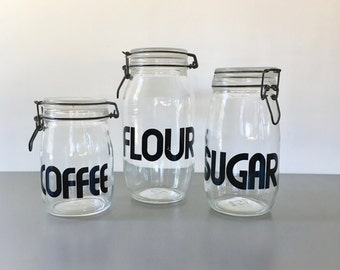 vintage typography glass jar canister hermetic seal flour sugar coffee