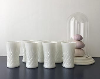 vintage milk glass tumblers set of 7 white barware