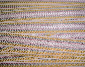 12 yards Scalamandre V3M-03 in Mustard Pale Blue Red White - Silk Chevron Braid Gimp Border Drapery Upholstery Fabric - Free Shipping