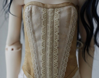Beige and gold dupioni silk corset for BJD SD Girl