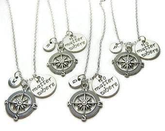 4 Best Friends Necklaces, No Matter Where Necklaces, Compass Necklaces, Friendship Necklaces, BFF, Sisters, Mother Daughter, Personalized