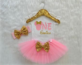 Baby Girl Disney Minnie Mouse, Light Pink and Gold with Custom Name, Birthday Tutu Headband Set, Short and Long Sleeve Bodysuit Tshirt 330