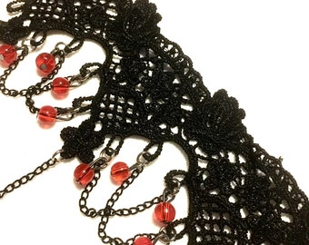 Gothic lace choker red silver goth black neck neckline gothic accessory teenager steampunk rock punk