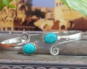 Turquoise Silver Wind Bangle Bracelet Tribal Gypsy Festival Boho Jewelry Bangle
