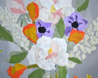 Abstract Paper -Torn Paper - Collage Art-  Mixed Media - Original Painting  - Pam George - Floral Cuttings in Jar -  Torn Paper Collage