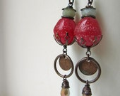 RESERVED for MARY - They Answer One's Questions - rustic earrings w/ Indonesian glass; grungy boho mixed media primitive assemblage earrings