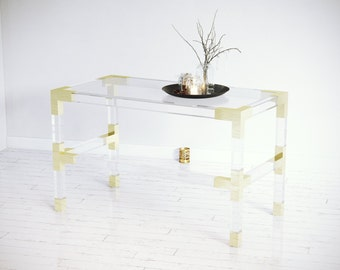 BUILT TO ORDER // Lucite Desk With Brass Accents