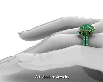 French 14K Yellow Gold 1.0 Ct Emerald Engagement Ring Wedding Band Set R408S-14KYGEM