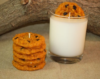 Chococlate Chip Cookies and Milk Candle Set, Chocolate Chip Cookie Scent, Unique Candle, Bakery Candle, Home Decor Candles, Fake Food