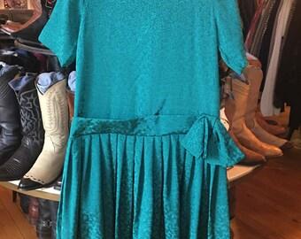 Vintage Blue/Green Dress Large Size