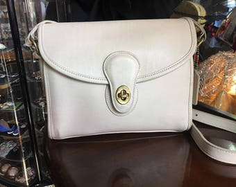 Vintage Off White Leather Authentic Brooklyn Coach Handbag Cross Body Purse