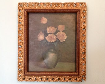Antique framed floral oil painting pink roses ornate gold plaster wood frame Victorian farmhouse romantic cottage chic wall art home decor