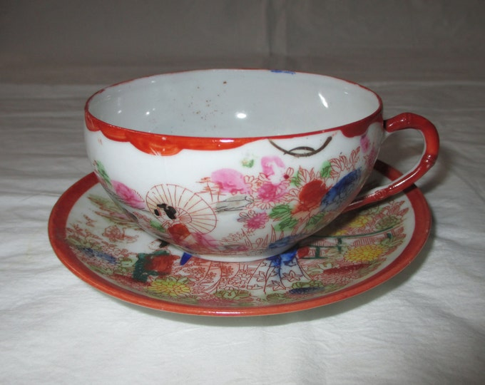 Red Geishas Cup & Saucer, Vintage Porcelain, Hand Painted, Bright Colors, Japan (c. 1950s)