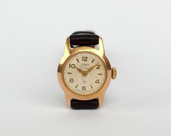 Cute Tiny Womens Watch ERA 50s. Antique Soviet Watch Vintage Gold Plated Small Ladies Wrist Watch. Genuine Leather Strap Watch. Gift For Her
