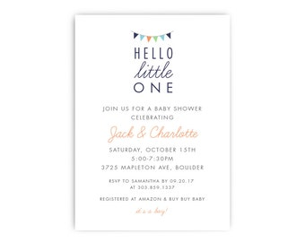 Baby Shower Invitation - Hello Little One, Boy