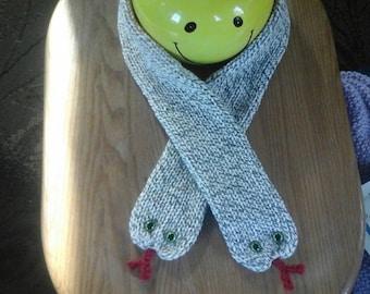 Handmade knitted snake scarves, crocheted tounge, children's snake scarves, choose your colors and length, toddler snake scarves, glass eyes
