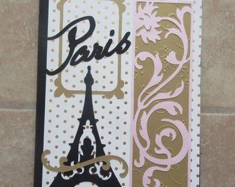 PARIS Theme Altered Image Composition Book/Journal with 2 Decorative PaperClips
