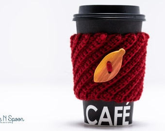 Red crochet cup cozy, crochet mug cozy, coffee gift, office gift, wood button