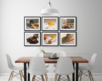 Kitchen decor, french food Photography, kitchen art set of 6, housewarming gift, country kitchen wall art, personalized kitchen decor