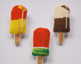 SPECIAL OFFER  by 3 for 41 euros. Baptism favor Summer cross stitch brooches. Ice-cream (3pcs)