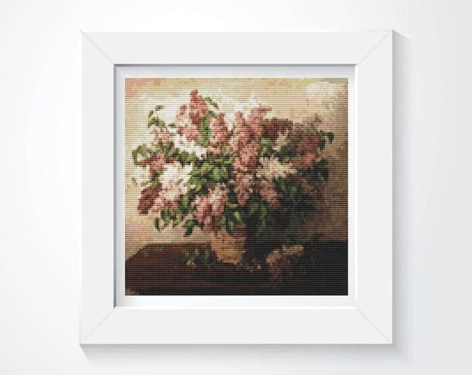 Cross Stitch Kit, Embroidery Kit, Art Cross Stitch, Floral Cross Stitch, Lilacs in a Basket by Pyotr Konchalovsky (PYOTR02)