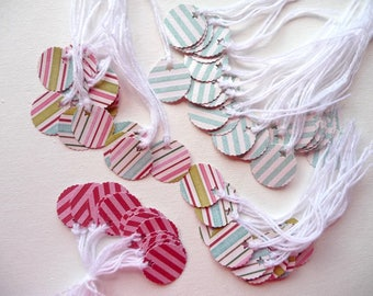75 striped small round tags