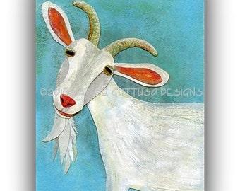 "Goat art, Farm nursery art, Archival print 5 x 7"", Farm animal collage, Goat collage, Farmhouse kitchen decor, Whimsical goat, Farm decor"