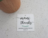 "Mani Thanks - Mason Jar Tags, Bridal Shower Tags, Shower Tags, Square Tags, Cellophane Tags, Size 2""x2""- Set of 12 Tags"
