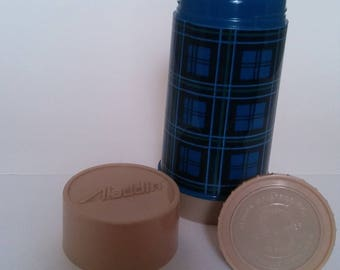Vintage Blue Plaid Aladdin Thermos wide mouth with tan cup, 10 ounce
