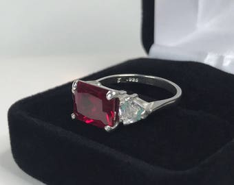 BEAUTIFUL 5.5ct Emerald Cut Ruby Ring Sizing 5 6 7 8 9 10 Trillion Accents White Sapphire Sterling Silver Jewelry Gift Mother Wife July Lab
