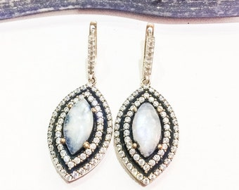Moonstone and 925 Silver Statement Earrings