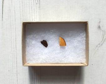 Wood Bark Earrings: sustainable odd wood studs, eco friendly tree earrings, reclaimed upcycled jewellery. Ideal for mothers day gift.