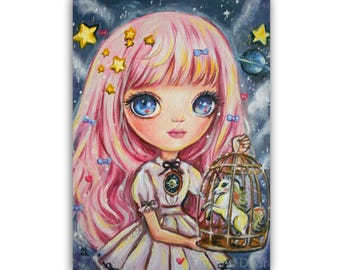 "ACEO ATC Artists Trading Card, Fantasy Art (2.5x3.5"") Print ""An Unusual Pet"", Fantasy Bigeye Lowbrow Pop-surrealism Stars Girl Nursery"