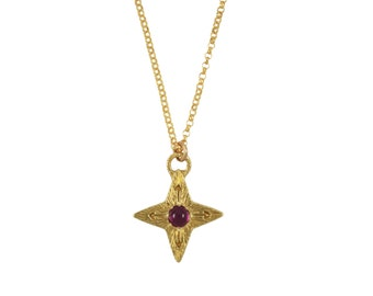 Ruby Compass Star Necklace, Ruby Necklace, Mother's Day Gift, Compass Necklace, Star Necklace, North Star Necklace, Gemstone Necklace