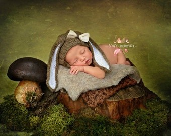 Bunny hand knitted hat photo prop newborn hat