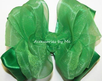 Green Hair Bow, Emerald Organza Satin Hairbows, Baby Girls Toddler Clips, Pageant Barrette, Princess Birthday Party Boutique Bow Hair Band