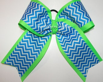 Bulk Price, Cheer Bow, Blue Neon Green Chevron Cheer Bow, Green Yellow Gold Softball Bow, Volleyball Bows, Soccer Bows, Football Cheerleader