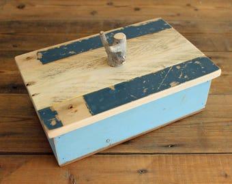 Wooden Keepsake Box Driftwood Box Light Blue and Dark Blue Beach Hut (B17-6)