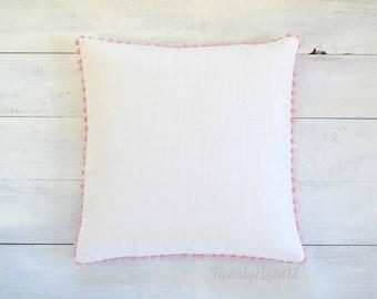 "Pink Pom Pom Pillow Cover - White Linen Look -  20"" x 20"" - Decorative Pillow, Throw Pillow, Pom Pom Pillow, White Pillow, Nursery Pillow"