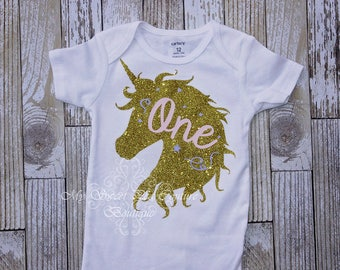 Unicorn First Birthday Outfit- Unicorn Birthday- Customized- First Birthday Outfit- 1st Birthday- Wimsical Birthday- One- Cake Smash Outfit