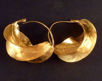 Fulani brass earrings from West Africa, african tribal ethnic earrings, Fulani Peul jewellery - 5 cm wide