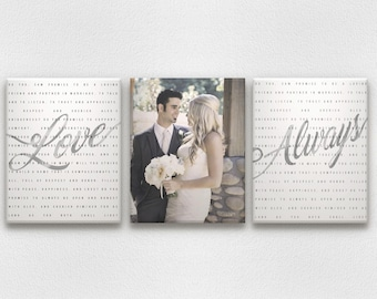 Metallic Gold or Silver Wedding Vow Art with Photo on Canvases