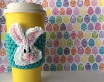 Turquoise Easter Bunny Coffee Cozy