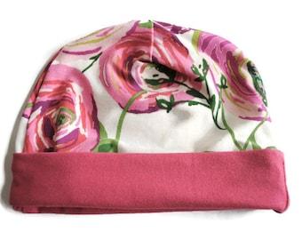 Fuchsia Floral Newborn Beanie Hat - Baby Accessories - Baby Hat - Newborn Hat