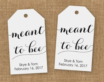 Meant to Bee Wedding Favor Tags - Honey Wedding Favor Tags - Wedding Favor Tags - Custom Wedding Favor Tags - Meant to Bee - MEDIUM