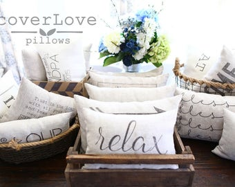 "relax pillow, housewarming gift, farmhouse pillow, new home gift, christmas gift - ""relax"""