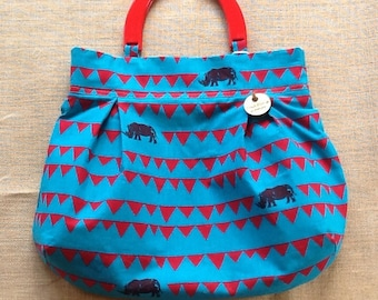 Turquoise and red Rhino print fabric Project bag 530
