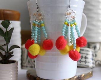 Pink & Yellow Pompom  Earrings-  - Claribella Collection -Adara Penina - Boho Jewelry